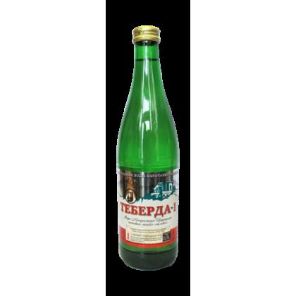 """Вода минеральная """"Теберда-1"""" 0,5 л. (20 бут. в уп.) стекло газ"""